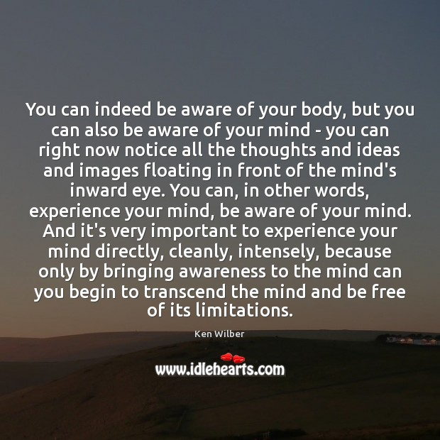 You can indeed be aware of your body, but you can also Ken Wilber Picture Quote