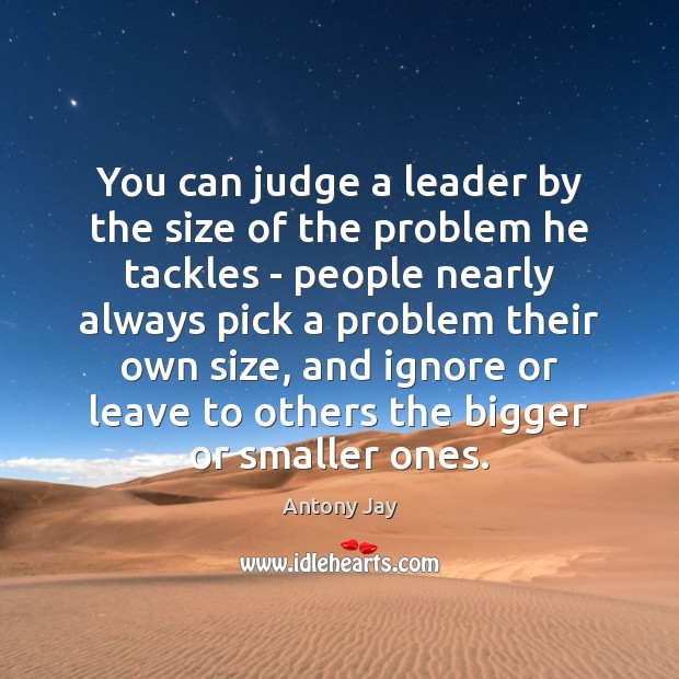 You can judge a leader by the size of the problem he Image