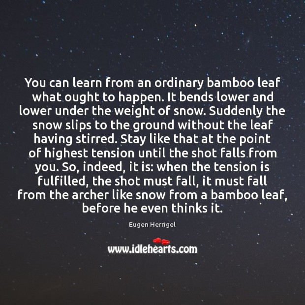 You can learn from an ordinary bamboo leaf what ought to happen. Eugen Herrigel Picture Quote