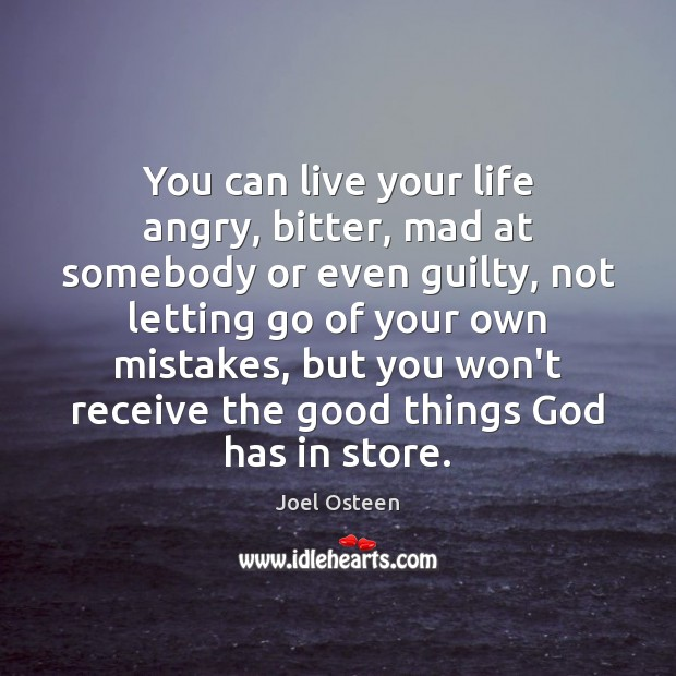 You can live your life angry, bitter, mad at somebody or even Joel Osteen Picture Quote