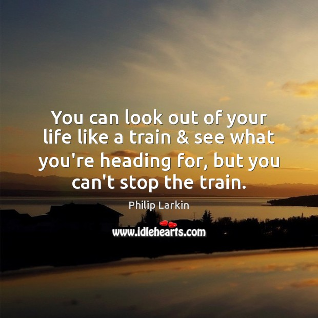 You can look out of your life like a train & see what Philip Larkin Picture Quote