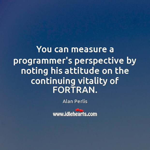 You can measure a programmer's perspective by noting his attitude on the Alan Perlis Picture Quote