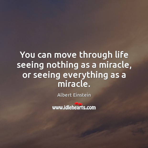 You can move through life seeing nothing as a miracle, or seeing everything as a miracle. Image