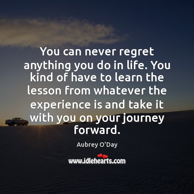 You can never regret anything you do in life. You kind of Never Regret Quotes Image