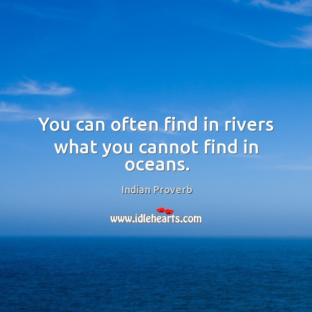 You can often find in rivers what you cannot find in oceans. Indian Proverbs Image