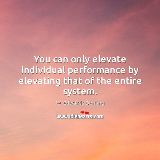 You can only elevate individual performance by elevating that of the entire system. W. Edwards Deming Picture Quote