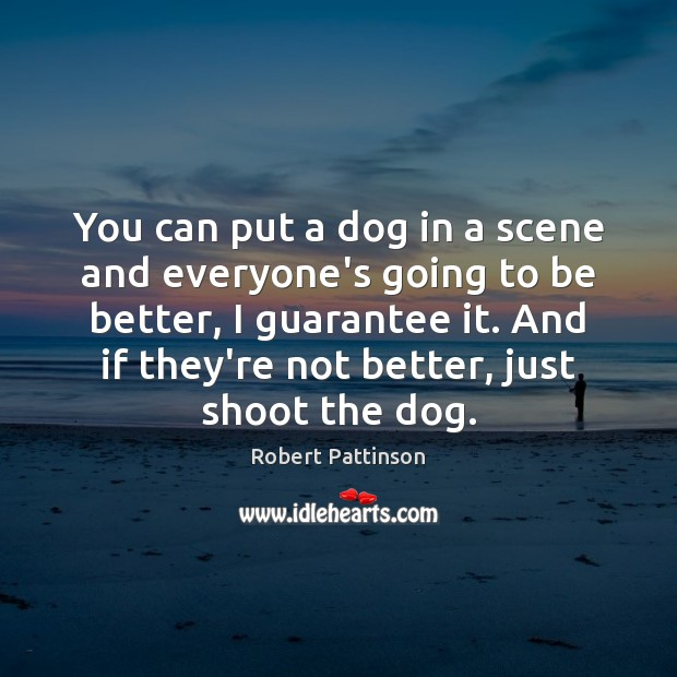 You can put a dog in a scene and everyone's going to Robert Pattinson Picture Quote