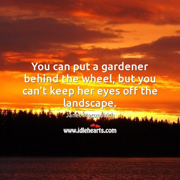 You can put a gardener behind the wheel, but you can't keep her eyes off the landscape. Janet Macunovich Picture Quote