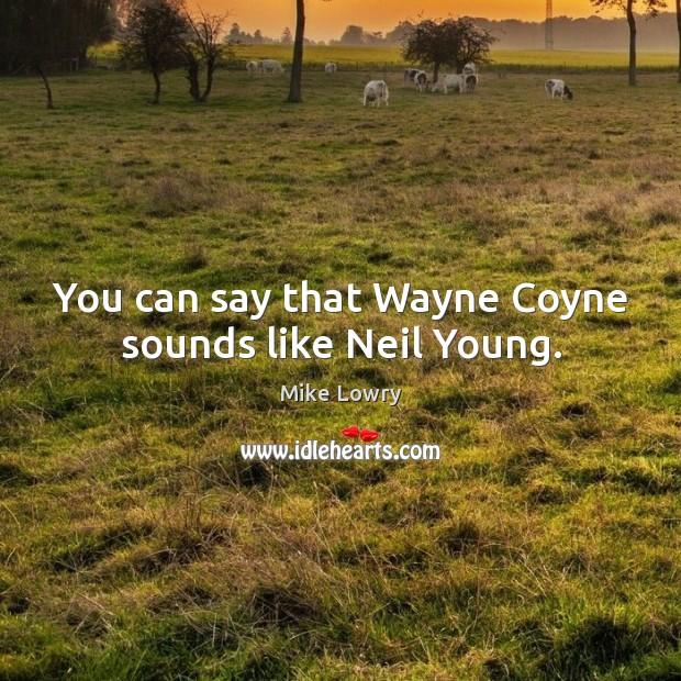 You can say that wayne coyne sounds like neil young. Image
