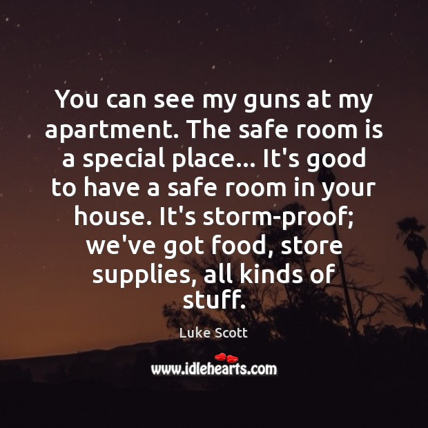 Image, You can see my guns at my apartment. The safe room is