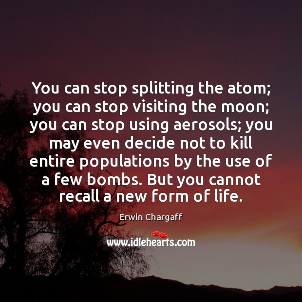 You can stop splitting the atom; you can stop visiting the moon; Image
