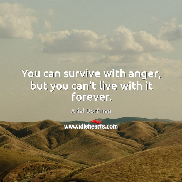 Image, You can survive with anger, but you can't live with it forever.