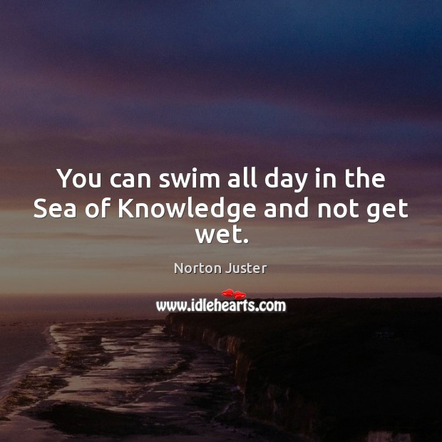 Image, You can swim all day in the Sea of Knowledge and not get wet.