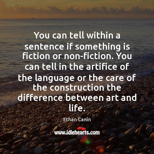 Image, You can tell within a sentence if something is fiction or non-fiction.