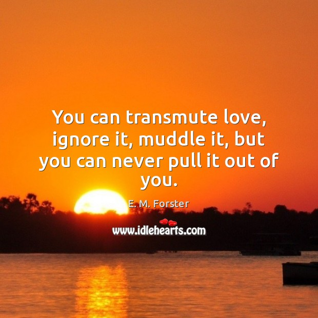 You can transmute love, ignore it, muddle it, but you can never pull it out of you. E. M. Forster Picture Quote