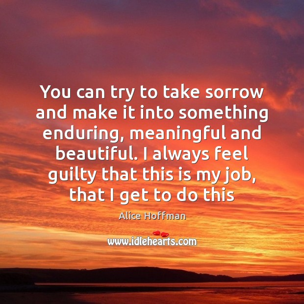 You can try to take sorrow and make it into something enduring, Alice Hoffman Picture Quote