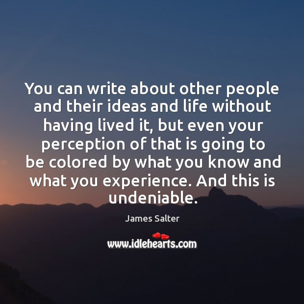 You can write about other people and their ideas and life without James Salter Picture Quote