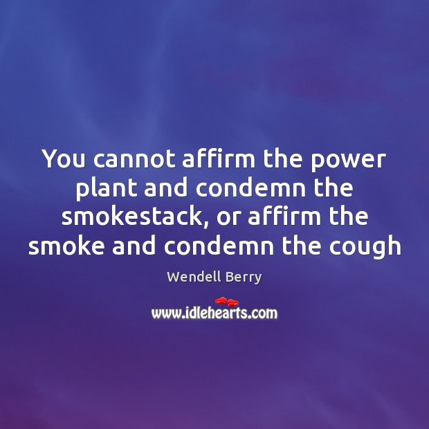You cannot affirm the power plant and condemn the smokestack, or affirm Wendell Berry Picture Quote