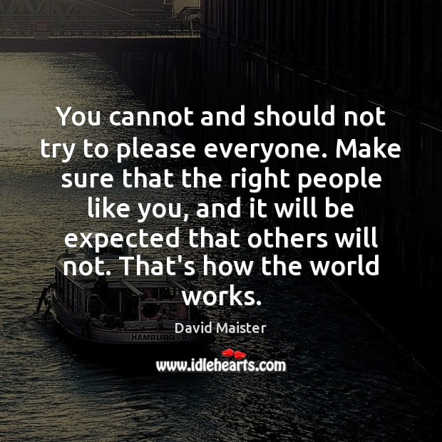 You cannot and should not try to please everyone. Make sure that David Maister Picture Quote