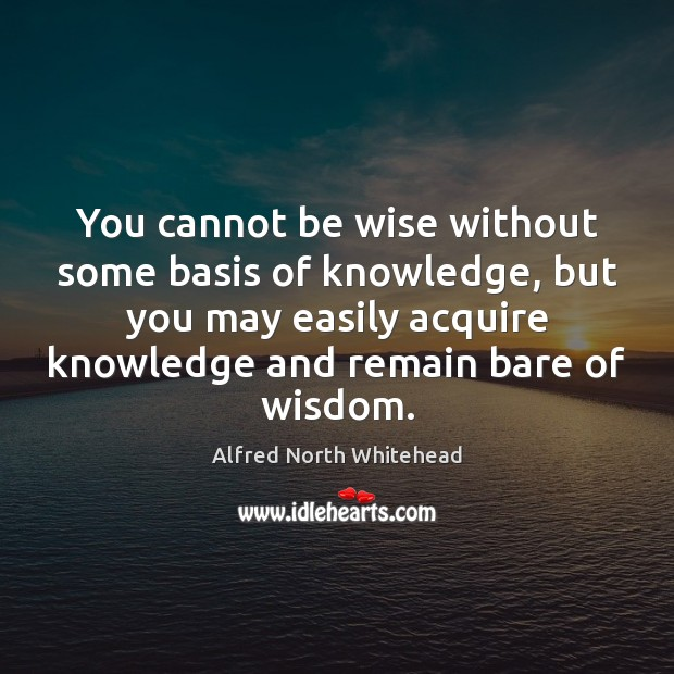 Image, You cannot be wise without some basis of knowledge, but you may