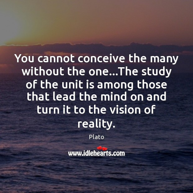You cannot conceive the many without the one…The study of the Image