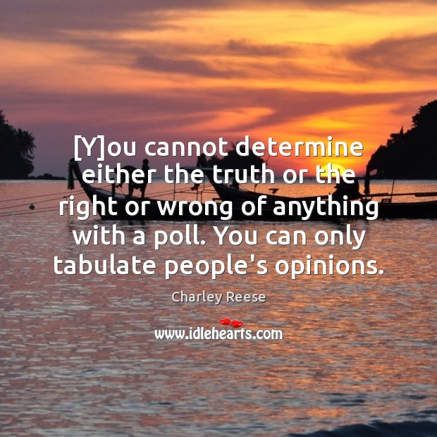 [Y]ou cannot determine either the truth or the right or wrong Charley Reese Picture Quote