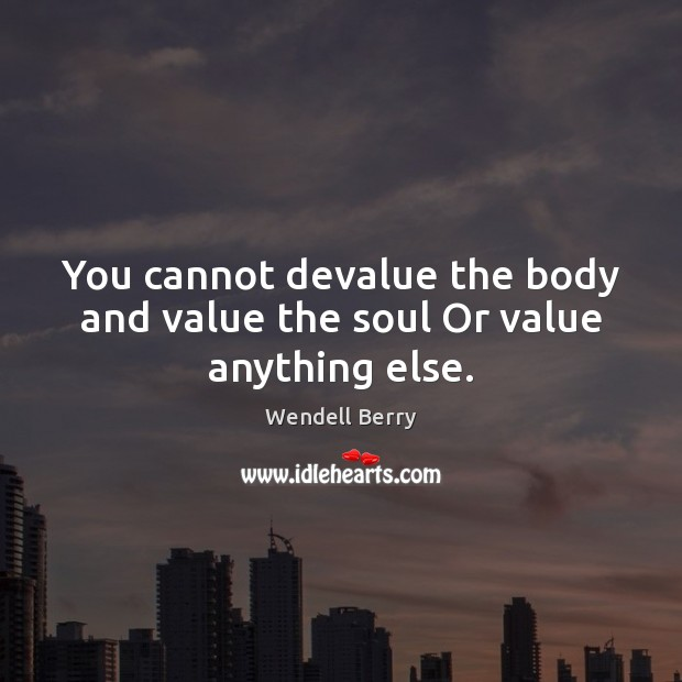 You cannot devalue the body and value the soul Or value anything else. Wendell Berry Picture Quote