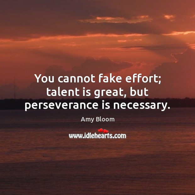 You cannot fake effort; talent is great, but perseverance is necessary. Perseverance Quotes Image