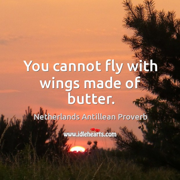 You cannot fly with wings made of butter. Netherlands Antillean Proverbs Image