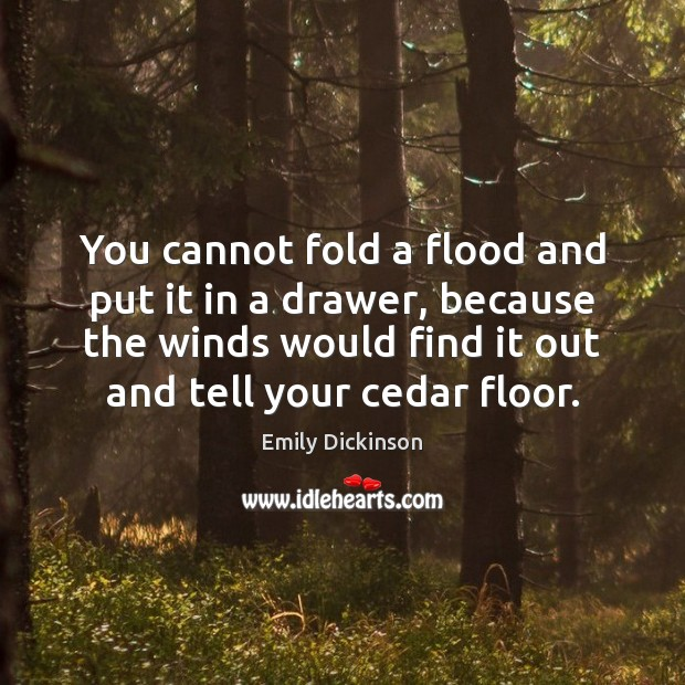 You cannot fold a flood and put it in a drawer, because Image