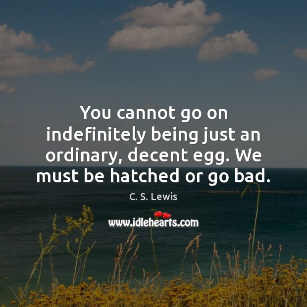 You cannot go on indefinitely being just an ordinary, decent egg. We Image