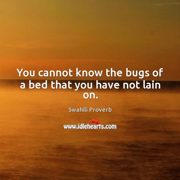 Image, You cannot know the bugs of a bed that you have not lain on.