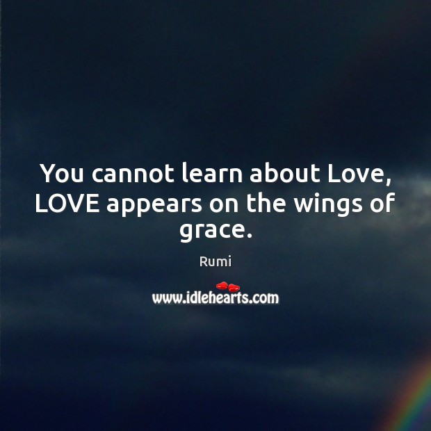 Image, You cannot learn about Love, LOVE appears on the wings of grace.