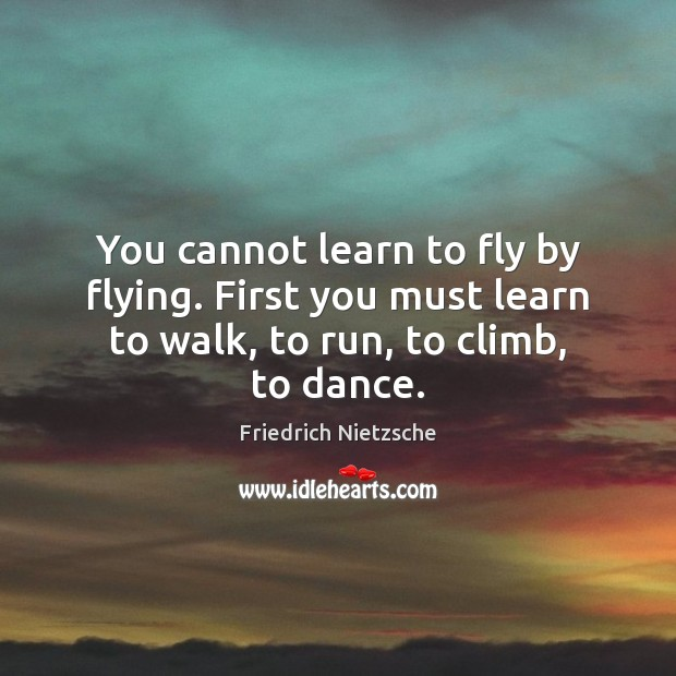 Image, You cannot learn to fly by flying. First you must learn to