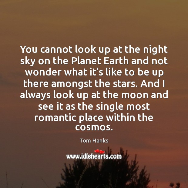 You cannot look up at the night sky on the Planet Earth Tom Hanks Picture Quote