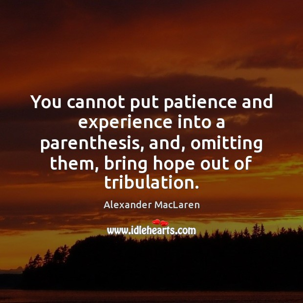 You cannot put patience and experience into a parenthesis, and, omitting them, Alexander MacLaren Picture Quote
