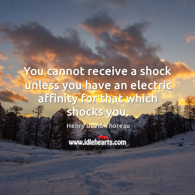 Image, You cannot receive a shock unless you have an electric affinity for that which shocks you.
