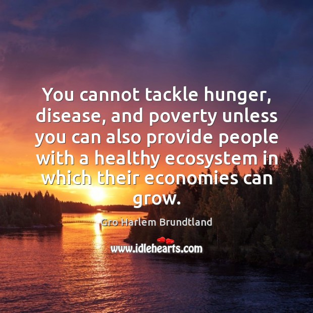 You cannot tackle hunger, disease, and poverty unless you can also provide Image