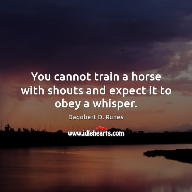 You cannot train a horse with shouts and expect it to obey a whisper. Image