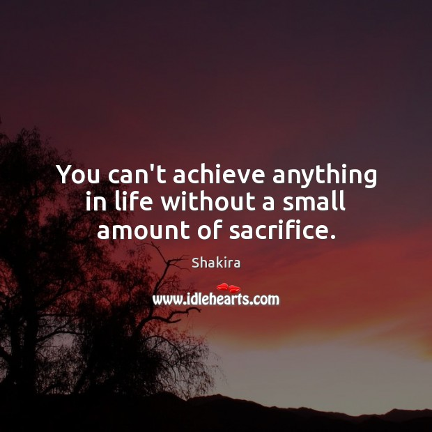 You can't achieve anything in life without a small amount of sacrifice. Shakira Picture Quote