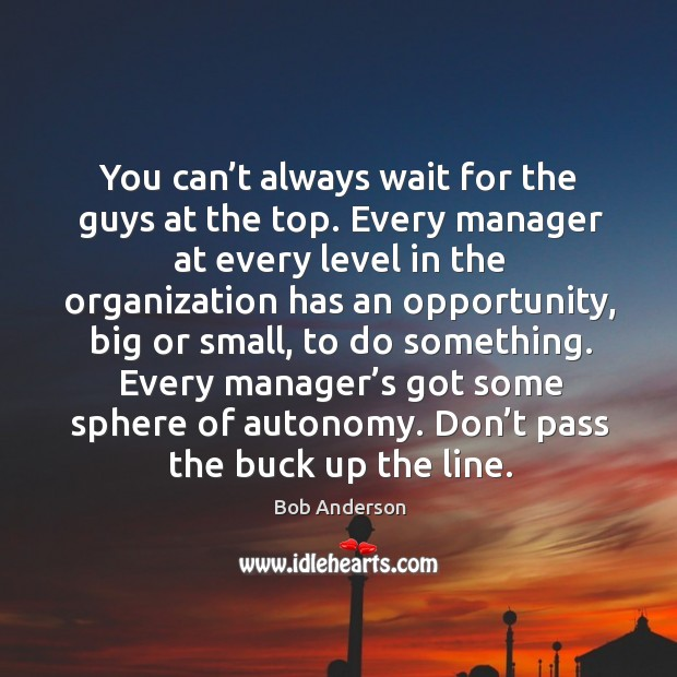 You can't always wait for the guys at the top. Every manager at every level in the Bob Anderson Picture Quote