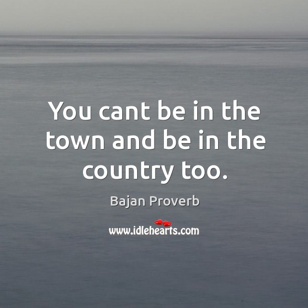 You cant be in the town and be in the country too. Bajan Proverbs Image