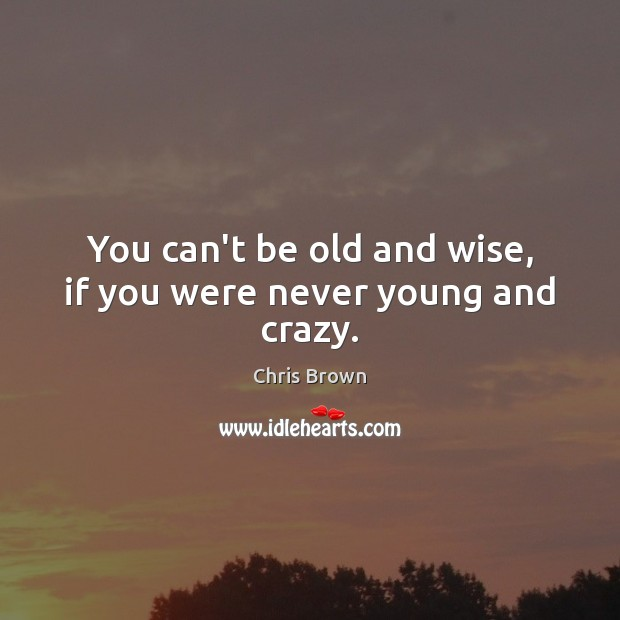 You can't be old and wise, if you were never young and crazy. Chris Brown Picture Quote