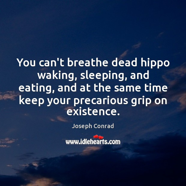 You can't breathe dead hippo waking, sleeping, and eating, and at the Image