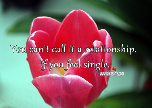 Image, If you feel single its not a relationship.