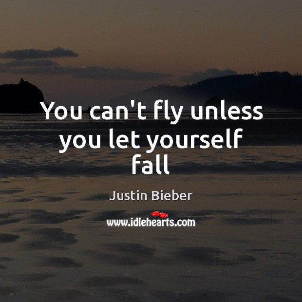 You can't fly unless you let yourself fall Justin Bieber Picture Quote