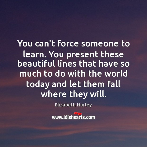 You can't force someone to learn. You present these beautiful lines that Elizabeth Hurley Picture Quote