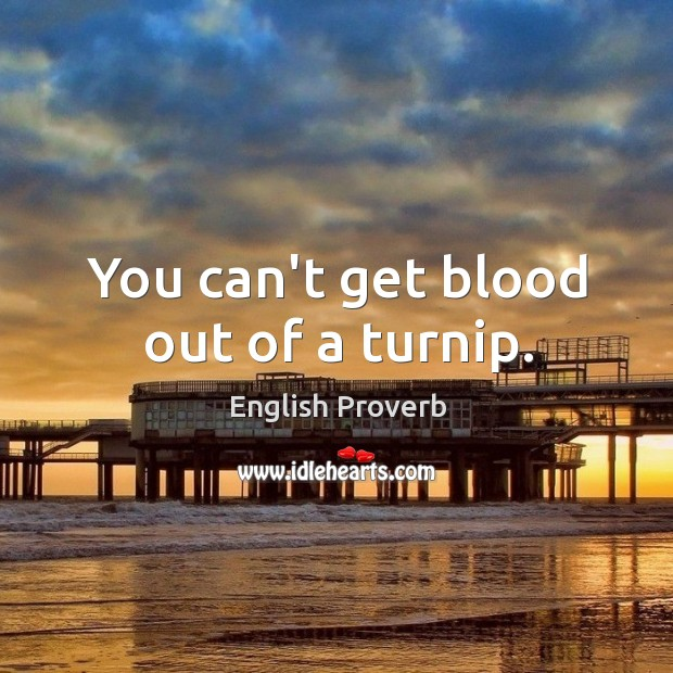 You can't get blood out of a turnip. English Proverbs Image