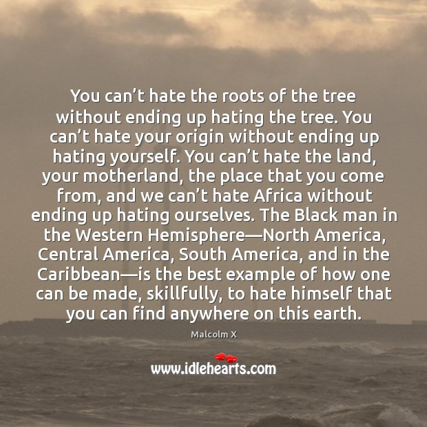 You can't hate the roots of the tree without ending up Image