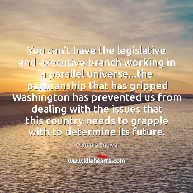 You can't have the legislative and executive branch working in a parallel Image